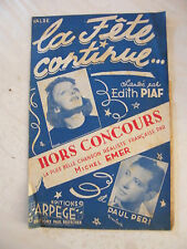 Partition La fête continue Edith Piaf & Paul Péri