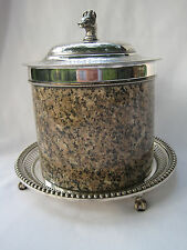 Rare and Unique Silverplate and Granite Biscuit Barrel