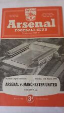 Arsenal v Manchester Utd Football League Division 1 Saturday 17th March 1956.