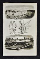 c 1824 Goldsmith Print - Petersburg & Berlin Views Russian Dress Germany Russia