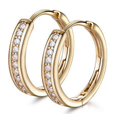 Classic Yellow Gold Filled Channel Diamond Lady Women Banquet Jewelry Earrings