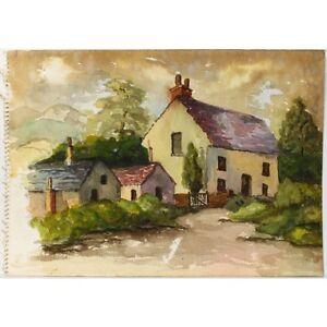 Unframed Original 1950s English Retro Village Landscape Watercolour Painting