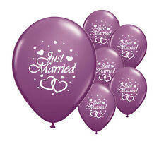 "10 JUST MARRIED PURPLE 12"" HELIUM QUALITY PEARLISED WEDDING BALLOONS (PA)"
