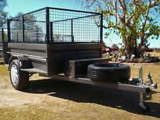 Aust 7X4 H/D Highside Box Trailer With a Rhino Toolbox Cage Leds Jockey & Spare.
