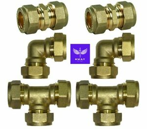 8mm-28mm Brass Compression WRAS Fittings- Couplings, Elbows, Tee copper plumbing