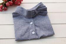 Women Detachable Check Fake Lapel Shirt Stripe Collar Necklace Removable Choker