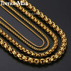 """2/3/4/5mm Stainless Steel Chain Necklace Gold Tone Round Box Link Jewelry 18-36"""""""