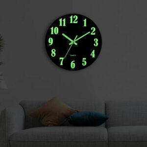 12 Inches Wooden Wall Clock Luminous Number Hanging Clocks Quiet Dark Glowing