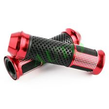 """DUAL MOTORCYCLE ALLOY SPORTS BIKES 7/8"""" HANDLE BAR RUBBER HAND GRIPS RED BAR END"""