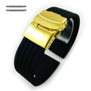 Black Rubber Silicone Replacement Watch Band Strap Gold Double Lock Buckle 4011G