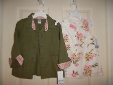 NWT NEW Carter's 4 4T Olive Army Green Jacket with Matching shirt top Adorable