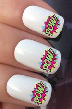 WATER NAIL TRANSFERS COMIC BOOK FIGHT SPEECH BUBBLES POW! DECALS STICKERS *343