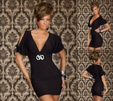 Sexy Black Short Sleeve Dance Party Cocktail Bodycon Casual Chic Dress Sz S 8 10