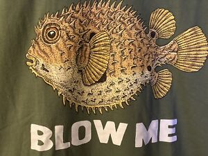 PUFFER FISH BLOW ME SHIRT SIZE M SKATE PUNK SURF Ray Troll