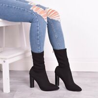 Ladies Womens Block High Heel Ankle Boots Zip Fashion Walking Black Shoes Sizes
