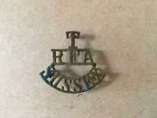 WW1 TERRITORIAL ROYAL FIELD ARTILLERY SUSSEX  T RFA SUSSEX BRASS SHOULDER TITLE