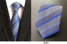 gris y Franjas Azules Estampado Hecho a mano 100% Corbata De Seda