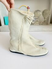 Prada Cream Sheepskin Boots, Sz 35