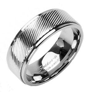 CLOSEOUT! Titanium Diagonal Striped Center Wedding Band Ring Size 5-14