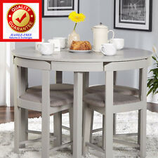 Dining Room Table & Chair Set 5 Pc. Grey Finished, Grey Linen Upholstered Chairs