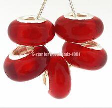 5PCS Silver Murano Lampwork Glass Beads fit European Charm Bracelet IL112
