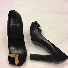 PIERRE HARDY geometric square platform peeptoe black heels EU 37 / UK 4 / US 7.5