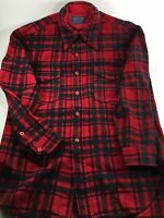 *****PENDLETON MENS 100% WOOL RED BLACK SHIRT SIZE 15 MEDIUM