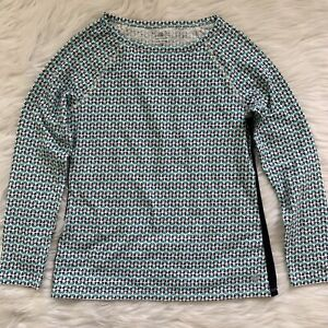 NWOT Womens S Small T By Talbots Teal Navy Print Long Sleeve Henley Top