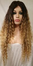 Blonde Wavy Human Hair Wig Lace Front Long Dark Roots Perm Curly