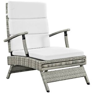 Envisage Chaise Outdoor Patio Wicker Rattan Lounge Chair - Light Gray White