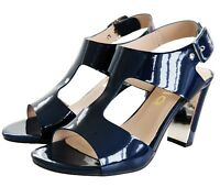 RRP - £65 Womens Strappy Sandals Block Mid High Heel Ladies Open Toe Party Shoes