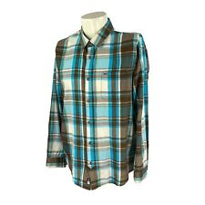 New listing Rip Curl Men's Surf Brand Trim Fit Long Sleeve Teal Brown Plaid Shirt Large