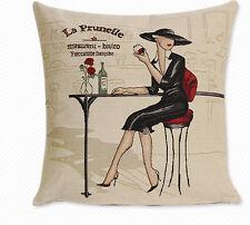 "18"" retro tea time lady jacquard Pillow Case Car Sofa Cushion Cover Home Decor"