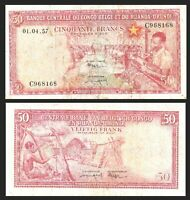 BELGIUM BELGIAN CONGO 50 FRANCS 1957 PICK 32 BANKNOTE