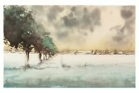 Original Aquarell Gemälde Malerei impressionistisch Winter Schnee Landschaft Eis