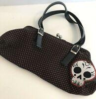 Sourpuss Purse Black Polka Dots Red Skull Retro Style Metal Kiss Clasp Handbag