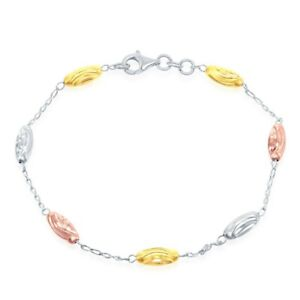 Tri-color Sterling Silver Diamond Moon-cut Oval Bead Anklet