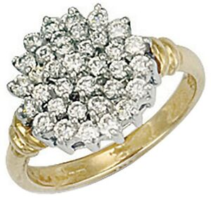 9ct Yellow Gold Cubic Zirconia Cluster Ring - UK Jewellers