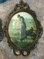 "1 Vintage 18""X 12""  Irish Potato Farmers in a  Pewter  PHOTO Picture Decor Frame"