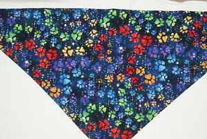 Dog Bandana, OVER THE COLLAR,clothes, pet, Size S,M,L,XL, Paw Prints on Navy!,
