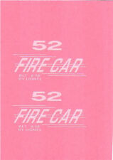 Lionel Fire Car #52 ....custom made waterslide decals in WHITE