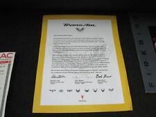 2002 C.E.T.A. Trans Am WS6 Official Commemorative OWNERS LETTER Certificate