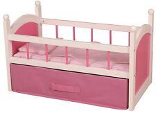 Wooden White Pink Doll's Bed Cot Crib Girls Babies Dollies Children Sleep Night