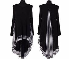 New Italian Lagenlook Fine Knitted A SHAPE Chifon Fishtail Back Side Tunic Top