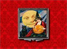 VINTAGE HALLOWEEN ART WITCH CAT PUMPKIN MAKEUP POCKET COMPACT MIRROR