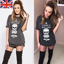 Womens Short Sleeve Skull Print T-Shirt Lady Casual Loose Tops Blouse Mini Dress