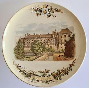 Assiette décorative en faïence de Sarreguemines XIXème décor Château de BLOIS