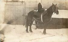 1910 RPPC Postcard; Farm Woman riding Side Saddle on Draft Horse, Unknown US
