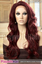 SO HOT Stunning Waved Lace Front Wig Heat Friendly Safe OK Burgundy Red Plum Mix