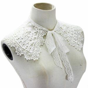 Detachable Lace Collar Lapel Choker Necklace Shirt Cloak Fake False Collar White